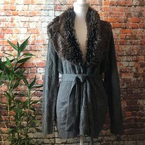 89th & Madison Fur Collar Cardigan